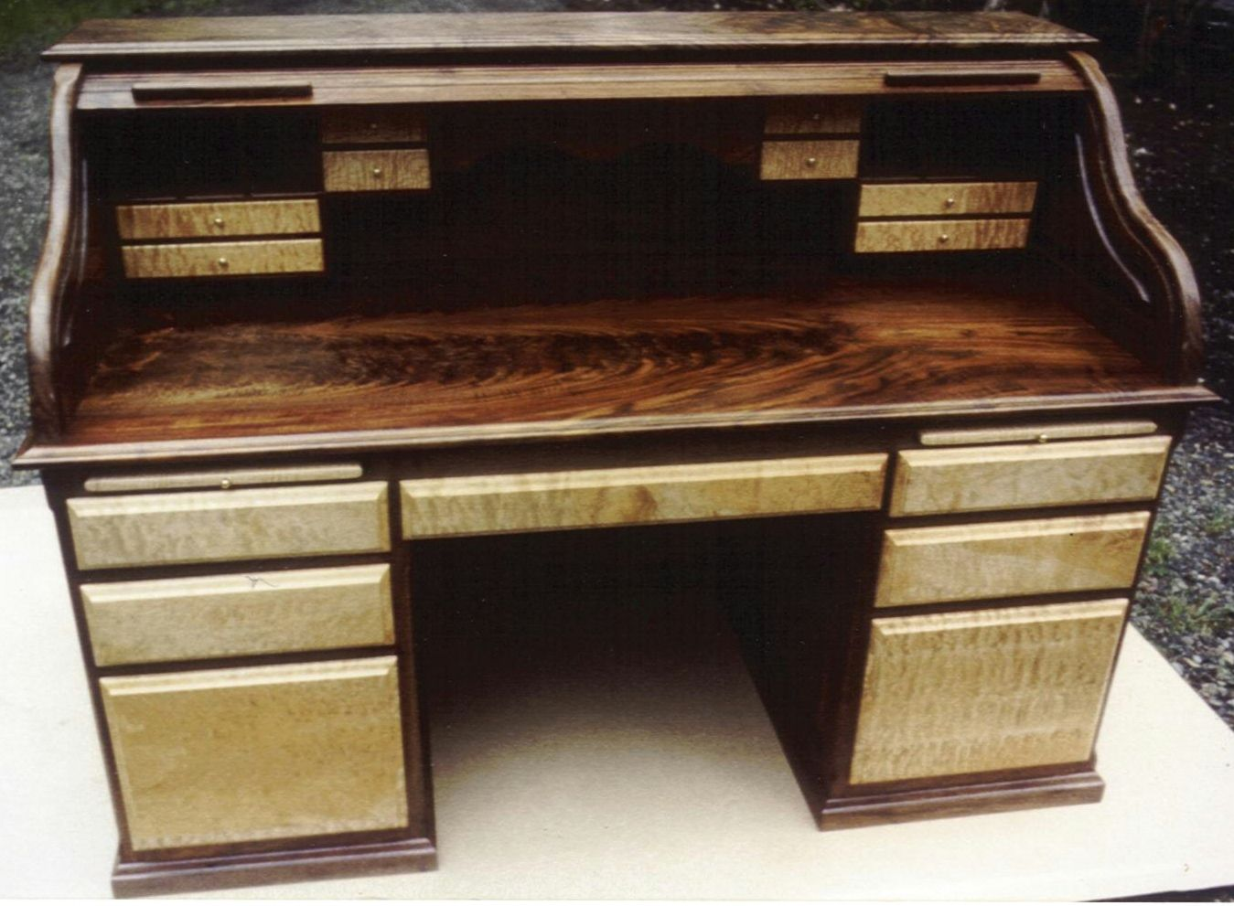 Black Walnut Vanity Maple Rolltop Desk