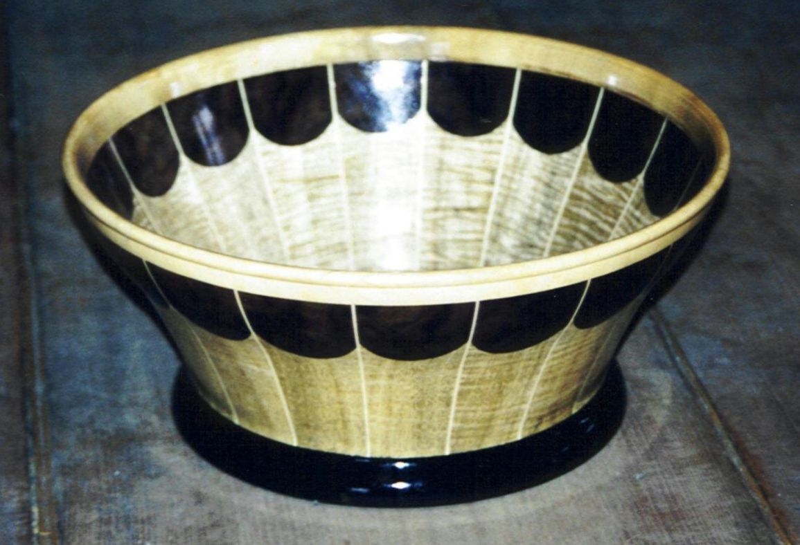 Wooden Bowl Created using Myrtlewood, Black Walnut, Ebony, and Holly (contains no stain, only a clear finish)